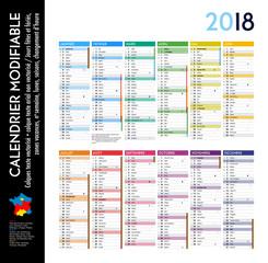 Calendrier 2018 sur 12 mois MODIFIABLE avec calques textes vectorisés et non vectorisés / Calendrier scolaire complet