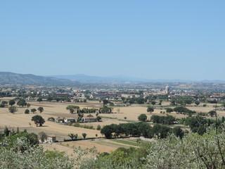 Campagna e vista della porziuncola. Assisi, Umbria