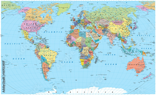 Fototapete Colored World Map - borders, countries, roads and cities
