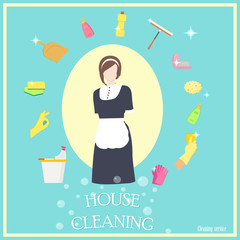 Vector image of woman and cleaning tools