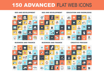 150 Colorful Square Icons 1