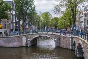 The small bridges over the canals in Amsterdam