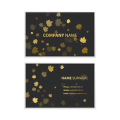 Template of business cards with autumn leaves