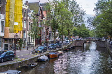 The beautiful city of Amsterdam with its canals and small houses