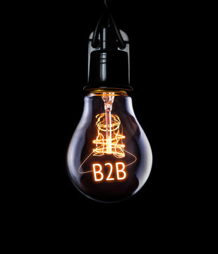 Hanging lightbulb with glowing B2B concept.