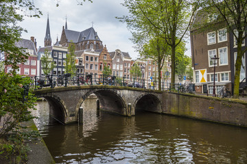 Wonderful street view in the Canal Belt of Amsterdam - AMSTERDAM - THE NETHERLANDS - JULY 20, 2017