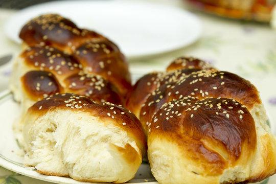 Challah for Shabbat , jewish bread bakery tradition