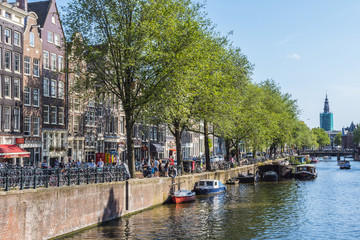 The beautiful canals of Amsterdam on a sunny day