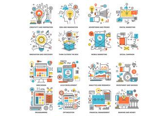 16 Cartoon Style Development Icons 1