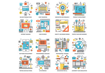 16 Cartoon Style Online Services Icons 1