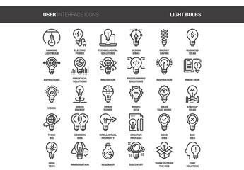 30 Line Art Light Bulb Icons 1