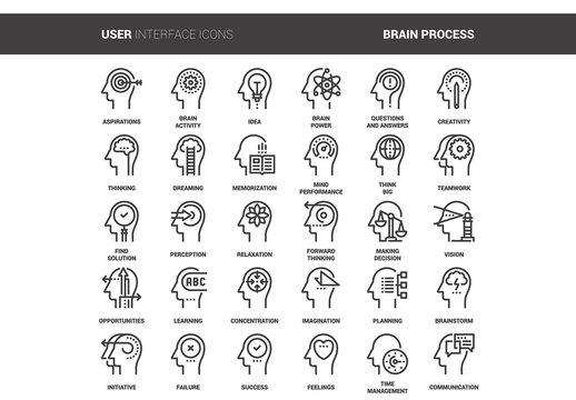 30 Line Art Mental Process Icons 1