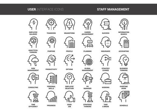 30 Line Art Mental Process Icons 2