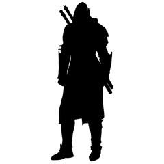 black silhouette of a medieval warrior. Assassin or ninja