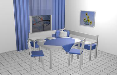 Sitzecke für die Küche in blau-weiß mit Kissen