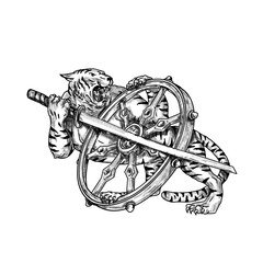 Tiger With Katana and Dharma Wheel Tattoo