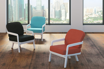 Hipster interior with chairs