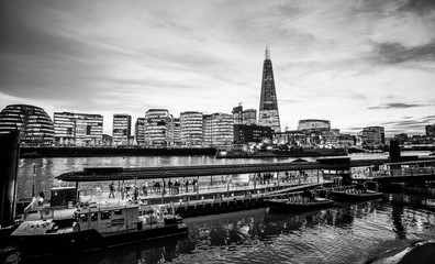 More London Riverside skyline the Shard and Tower Millennium Pier at night - LONDON / GREAT BRITAIN - DECEMBER 6, 2017