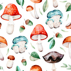 Bright autumn seamless pattern with autumn leaves,branches,acorns,multicolored mushrooms,chestnut.Colorful mushrooms texture.Autumn collection.Perfect for your creation,wallpapers,print,cover design