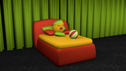 niedliches Emoticon schläft im roten Boxspringbett.