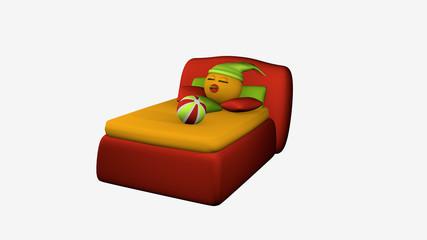 putziges Emoticon schläft im roten Boxspringbett. 3d-Rendering auf weiß isoliert