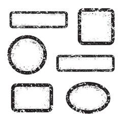 Set of empty grunge stamp, graphic design elements, black isolated on white background, vector illustration.
