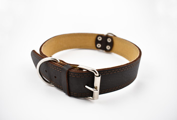 Dog collar stock images. Brown dog collar on a white background. Leather collar