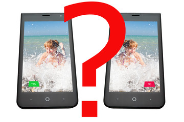 phone with the image of the girl and buttons of the answer, on a white background