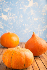 Three pumpkins on blue background