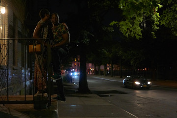 Young Romantic Couple Kissing in the Streets of New York . Brooklyn