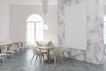 White and marble restaurant interior, poster
