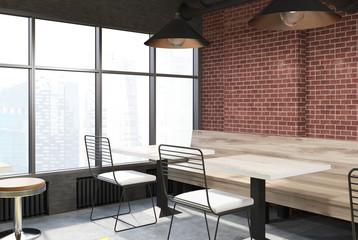 Brick cafe interior, corner