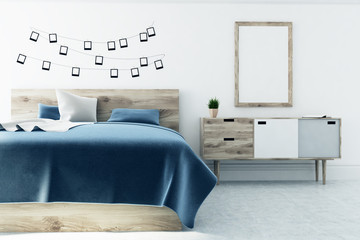 White bedroom, photo gallery, one poster