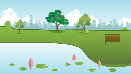 Public park in city with wood bench and lotus lake front vector.Green lawn to relax and town background.Beautiful spring landscape nature and city background