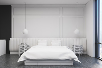 White bedroom interior, front view