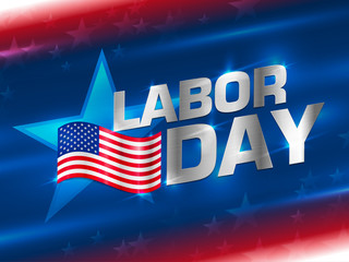 Labor day sale promotion advertising banner template decor with American flag. Labor day wallpaper. American labor day background. American labor day card abstract background. Vector illustration.