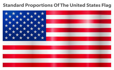 American Flag. American Flag realistic illustration. Vector image of American Flag. American Flag background. United States of America. USA. United States. Standard dimensions, element proportions.