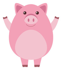 Pink pig on white background
