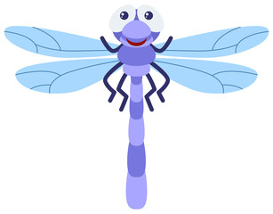 Blue dragonfly on white background