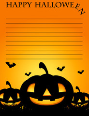 Paper template with jack-o-lantern in background