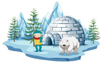 Arctic scene with boy and polar bear by igloo