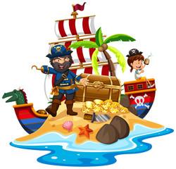 Pirate and ship at the treasure island