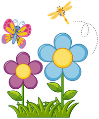 Butterfly and dragonfly in flower garden