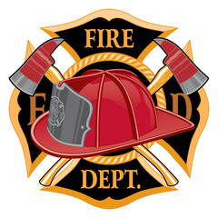 Fire Department Cross Symbol is an illustration of a fireman or firefighter Maltese cross emblem with a firefighter helmet and firefighter axes in the foreground.