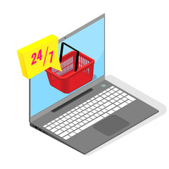 Laptop on a white background, shopping cart, 24/7 online shopping