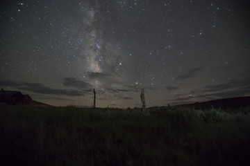 Fence posts against Milky Way