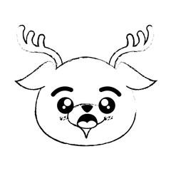 kawaii deer animal icon over white background vector illustration
