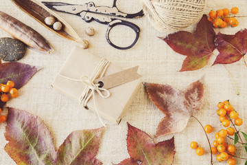 Autumn fall craft mock up setting toning background
