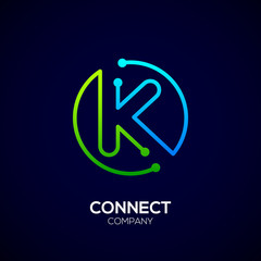 Letter K logo, Circle shape symbol, green and blue color, Technology and digital abstract dot connection