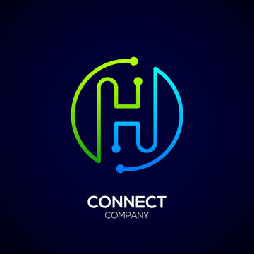 Letter H logo, Circle shape symbol, green and blue color, Technology and digital abstract dot connection
